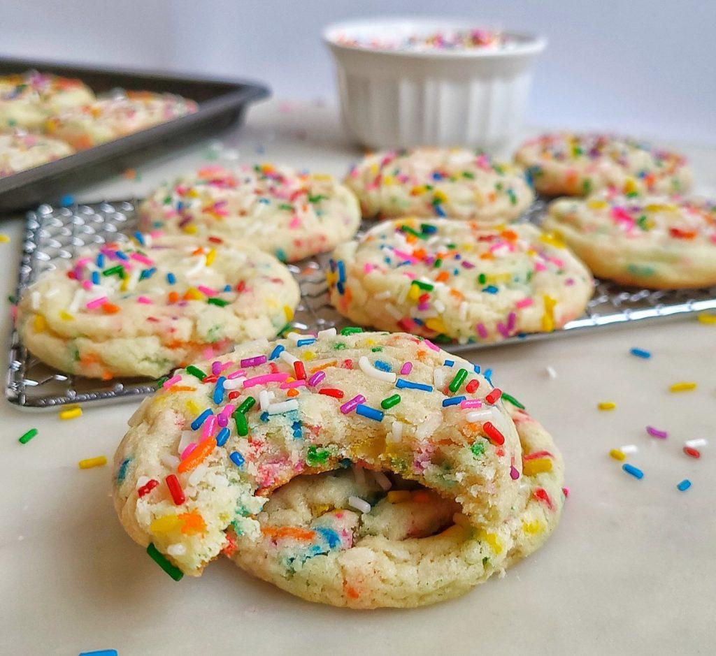 funfetti cookies, bite shot