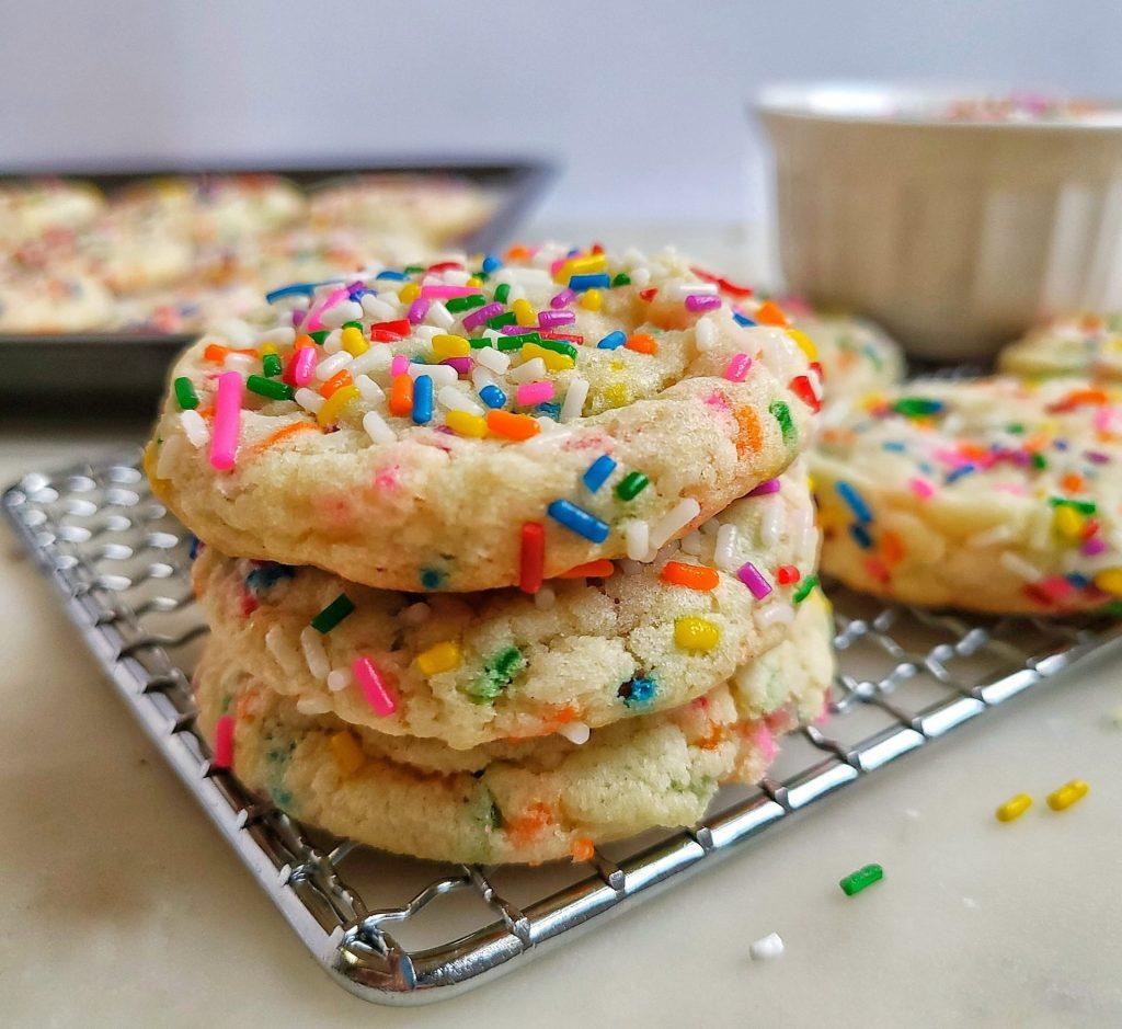 funfetti cookies. chewy sugar cookies full of sprinkles