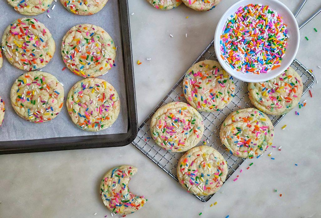 funfetti cookies, flat lay