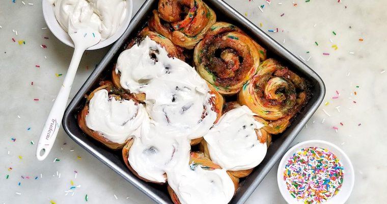 Funfetti Cinnamon Rolls with Cream Cheese Frosting