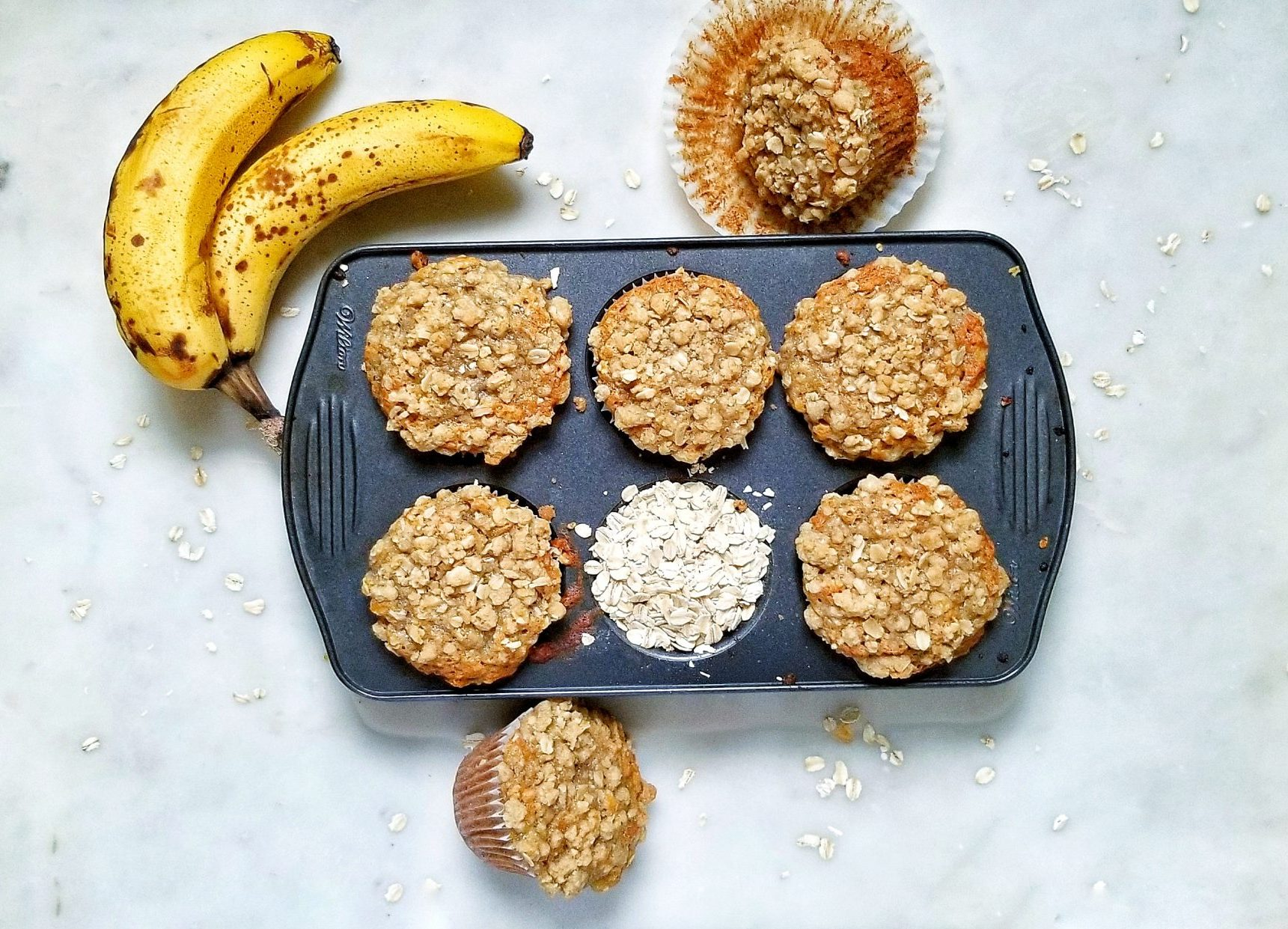 Oatmeal Banana Muffins with Streusel Topping
