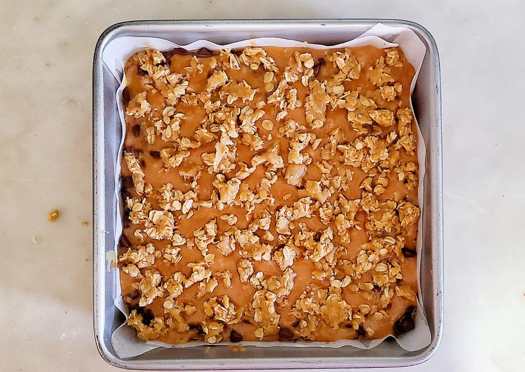 Carmelitas bars ready to go into the oven