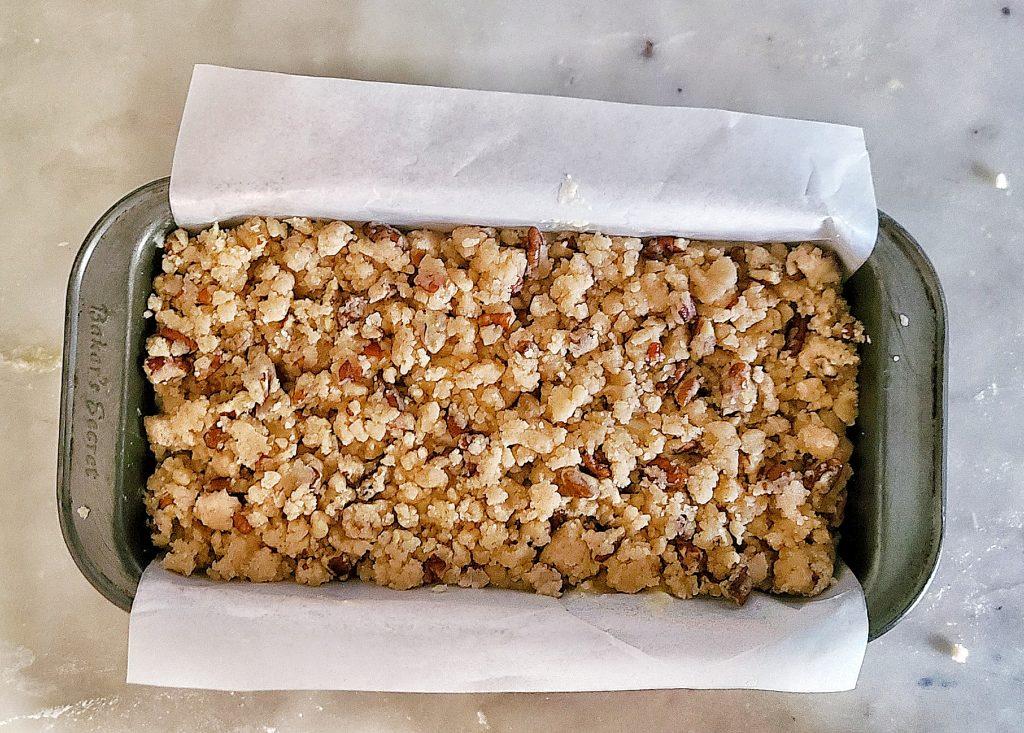 banana nut crunch loaf before baking