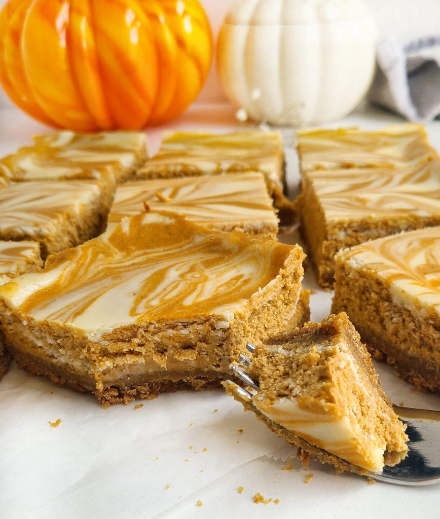 pumpkin swirl cheesecake bars, bite shot